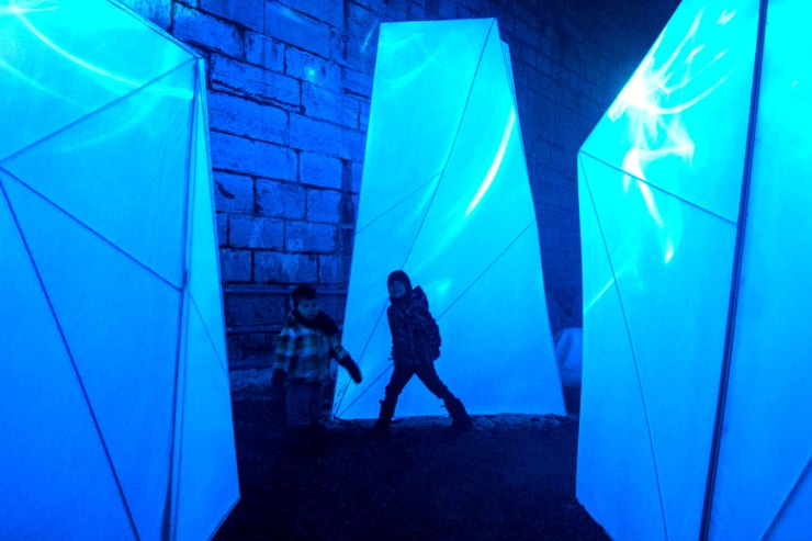 Two boys playing at Iceberg Alley in Lumina Borealis.