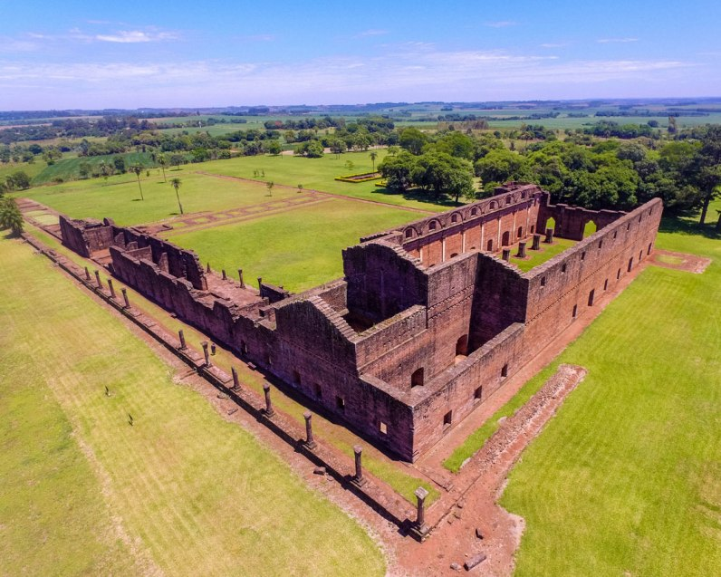 Drone aerial photo of the ruins of Jesuit missions in Paraguay. This one is the mission of Jesus de Tavarangue