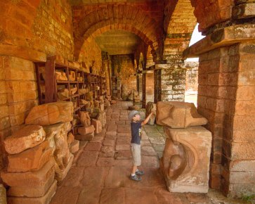 A young boy checks out the archaeological finds of the ruins of Trinidad in Paraguay