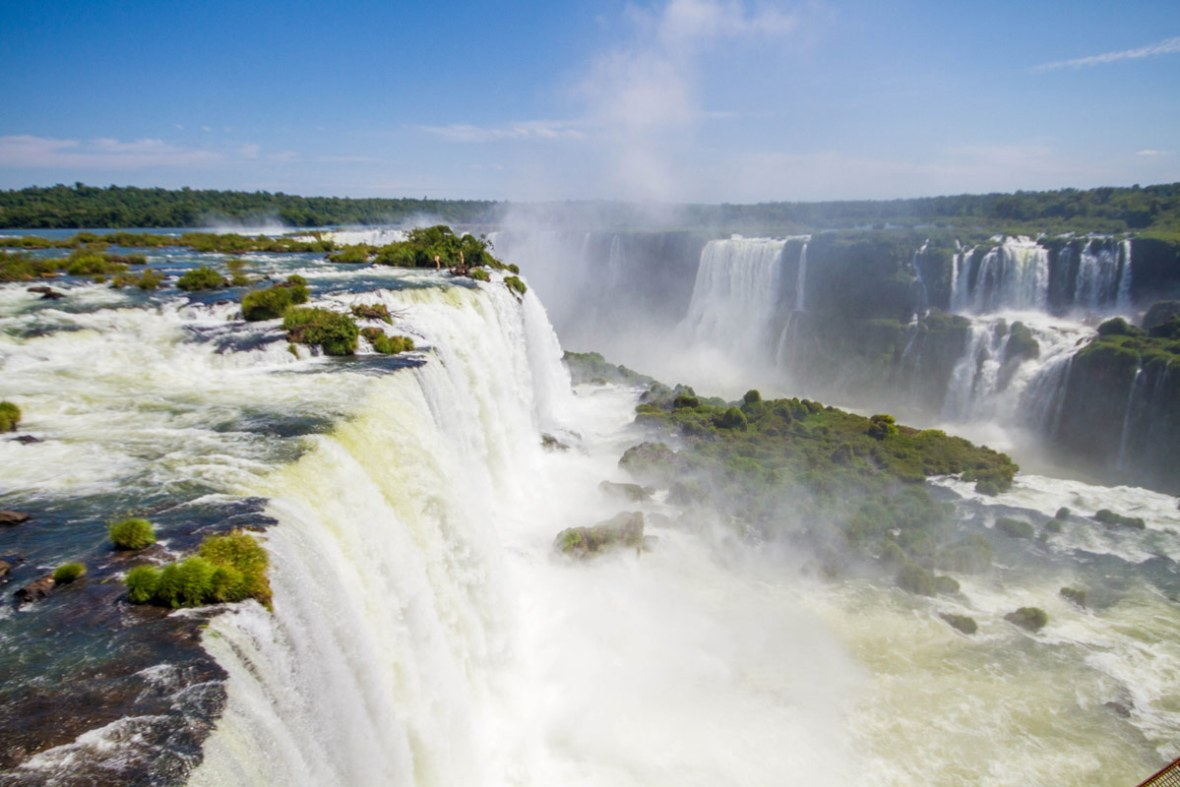 View of Iguazu Falls Brazil from the observation deck.