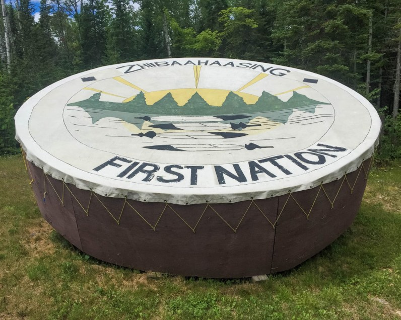 Giant prayer drum at the Zhiibaahaasing First Nations on Manitoulin Island