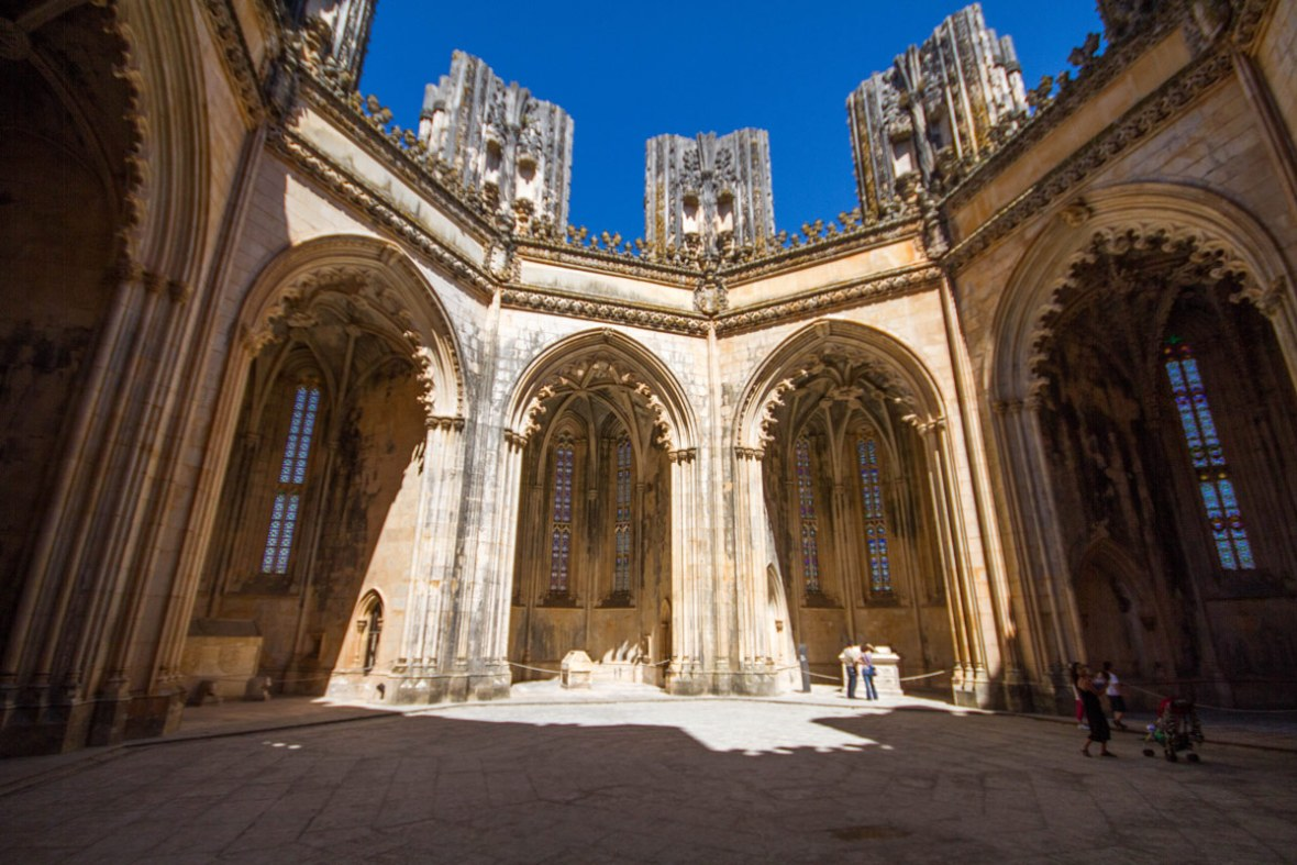 The Unfinished Chapels of Batalha Monastery are in the shape of an octagon.