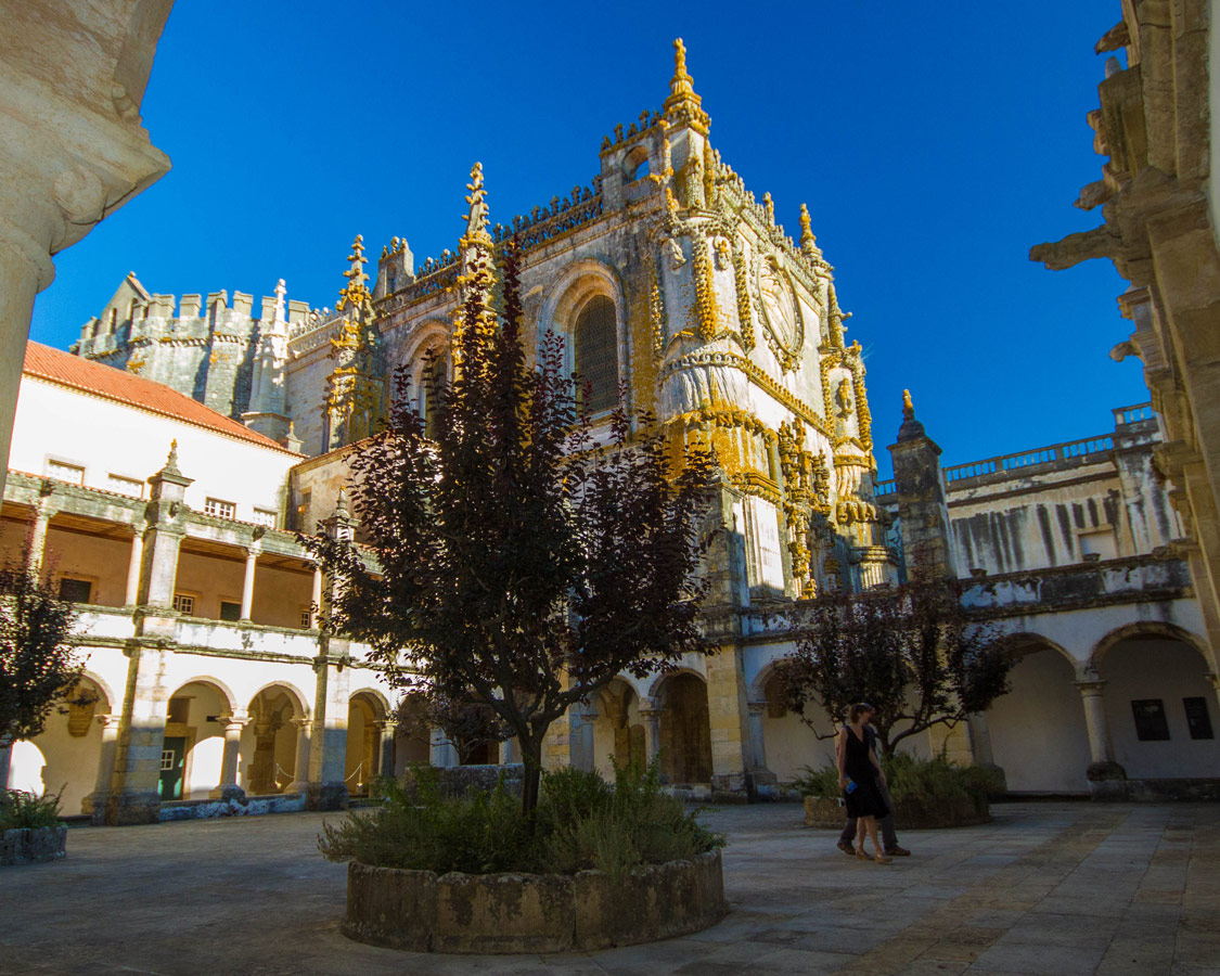 The Manueline church as viewed from the Great Cloister of the Convent of Christ in Tomar, Portugal.