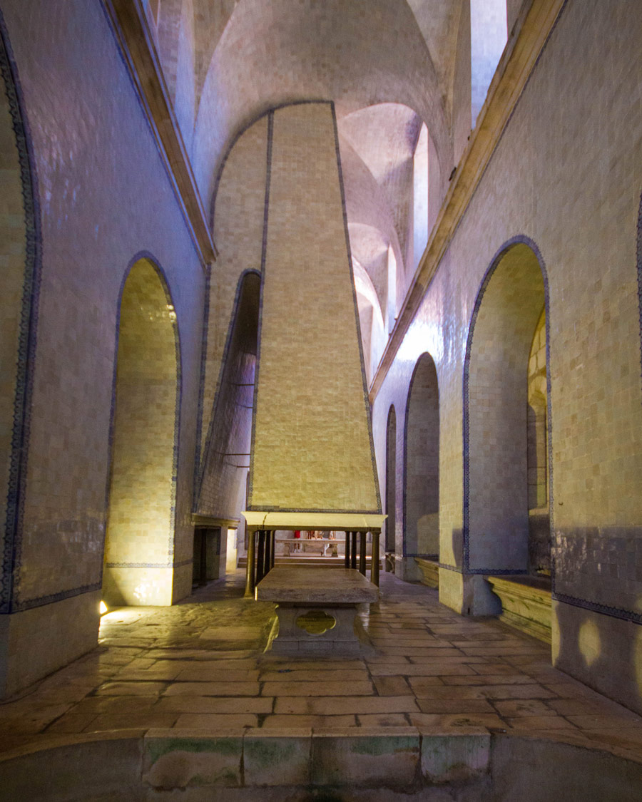 A large kitchen in the Monastery of Alcobaca in Alcobaca, Portugal.