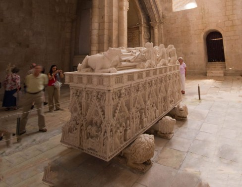 Tomb of Dom Pedro in Alcobaca Monastery in Portugal.