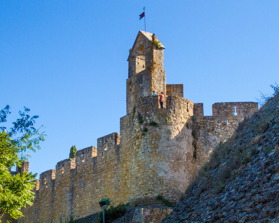 The Keep and castle walls of the Templar Castle in Convento do Cristo in Tomar, Portugal.
