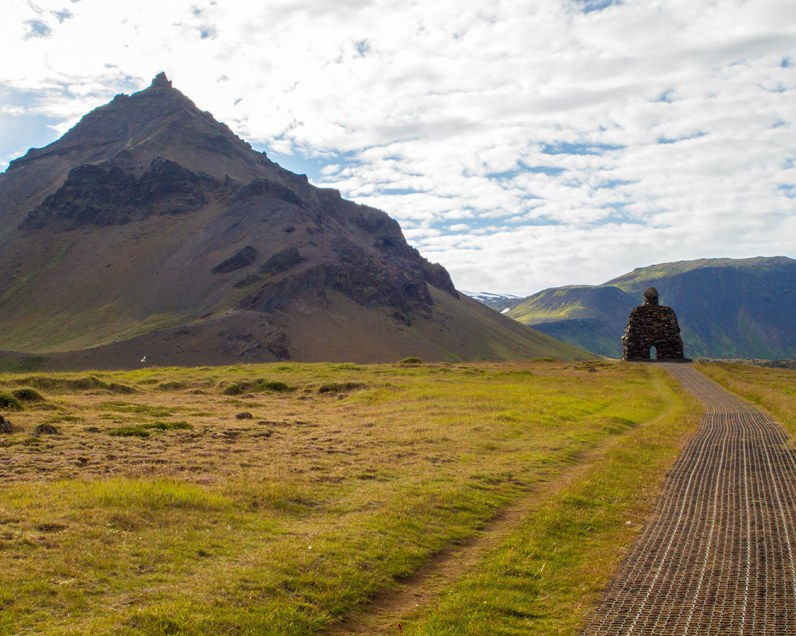 Bardur Snaefellsness looks out onto Mt. Stapafell in Snaefellsness Iceland