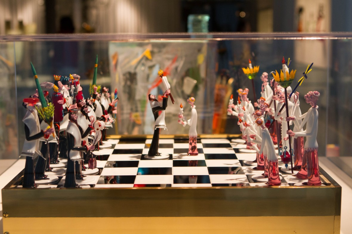 Intricate glass chess pieces at the Corning Museum of Glass in Corning, New York.