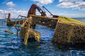A shipwreck covered in barnacles and moss pokes out of the water near Puerto Madryn Argentina