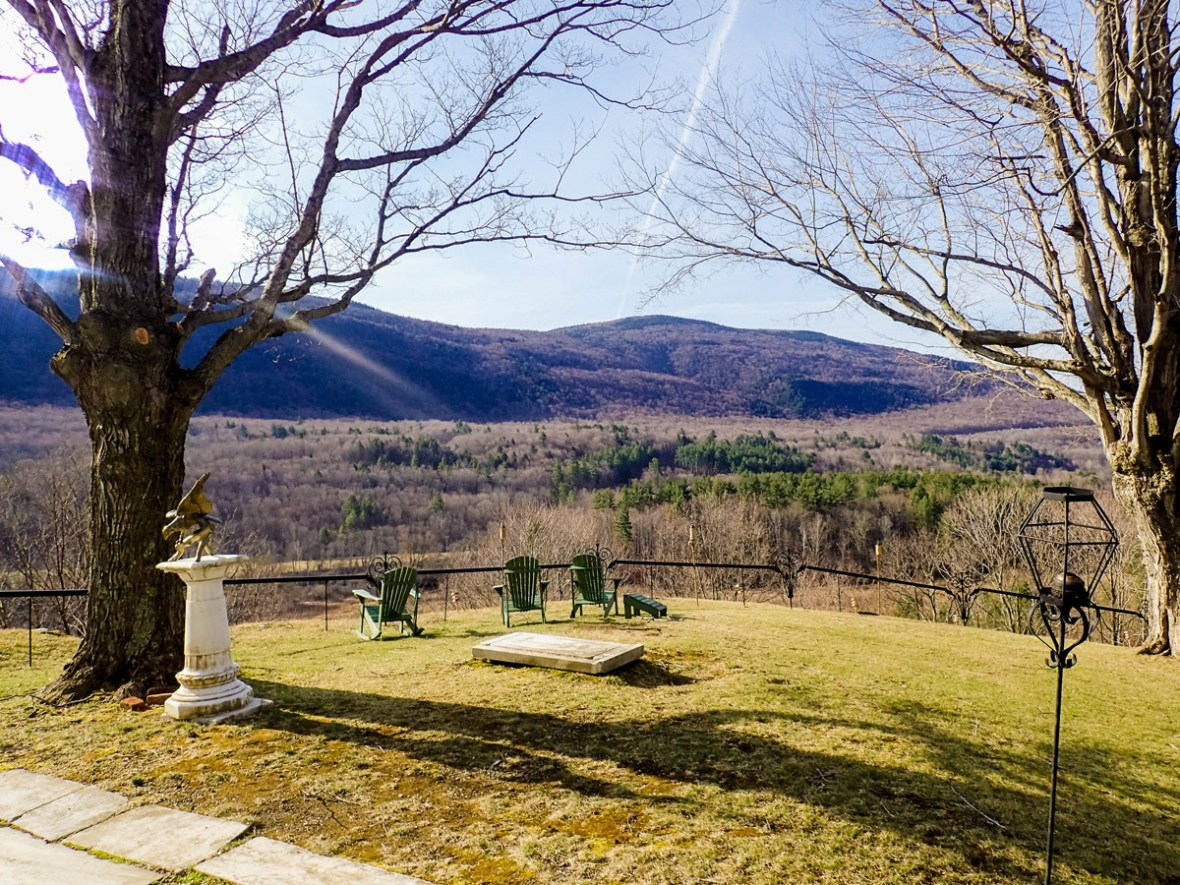 The backyard of the Wilburton Inn has spectacular views of the Green Mountains.