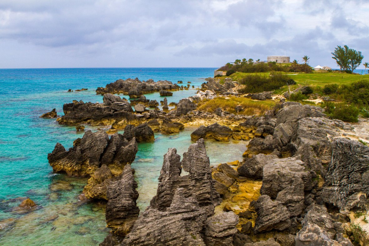 Fort St Catherine as seen from Tobacco Bay Bermuda