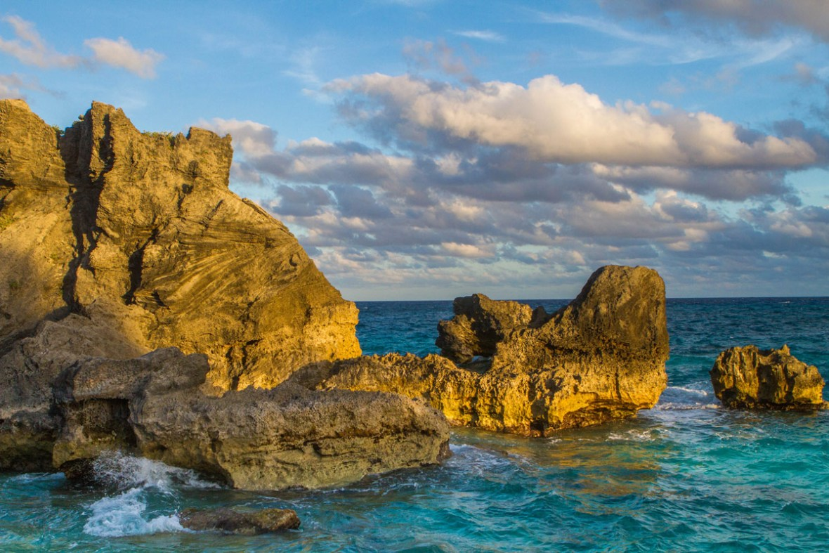 Rocks and water near Horseshoe Bay Bermuda one of the best places to visit in Bermuda with kids