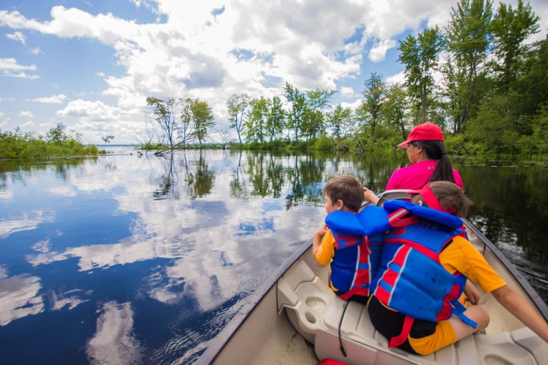 A mother and two young boys in a canoe search for turtles while the clouds are reflected in the calm waters of Bonnechere River in Bonnechere Provincial Park with kids