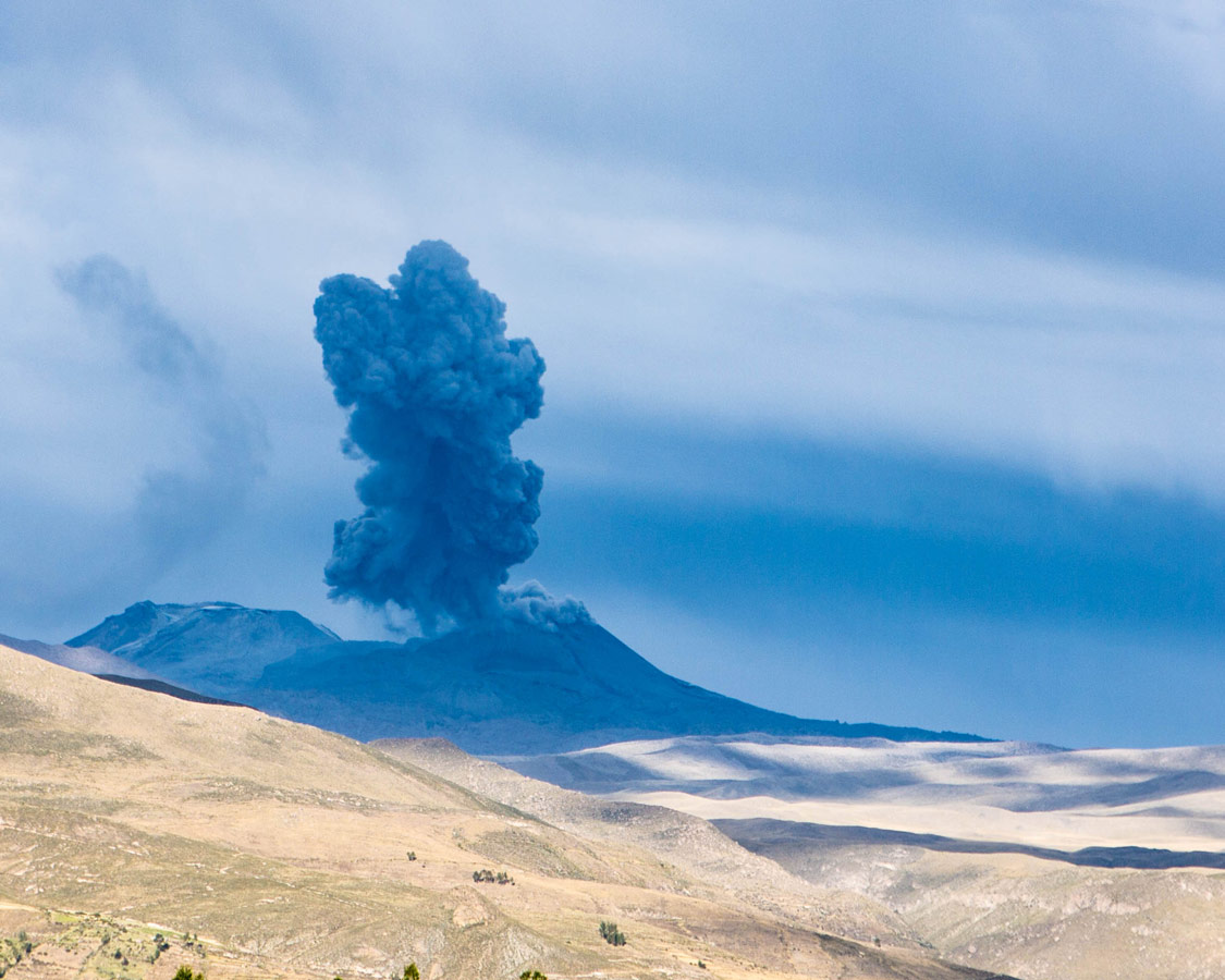A volcano erupts near Colca Canyon Peru as we head to see Andean Condors in Colca Canyon with kids