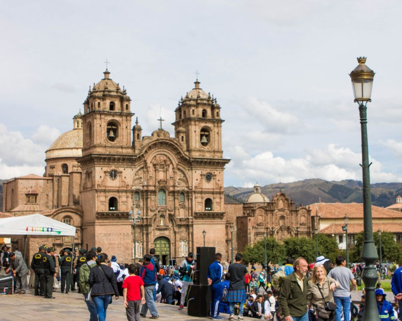 Crowds gather for a celebration in the main square of Cusco Peru as we prepare for a day trip to the Sacred Valley Peru