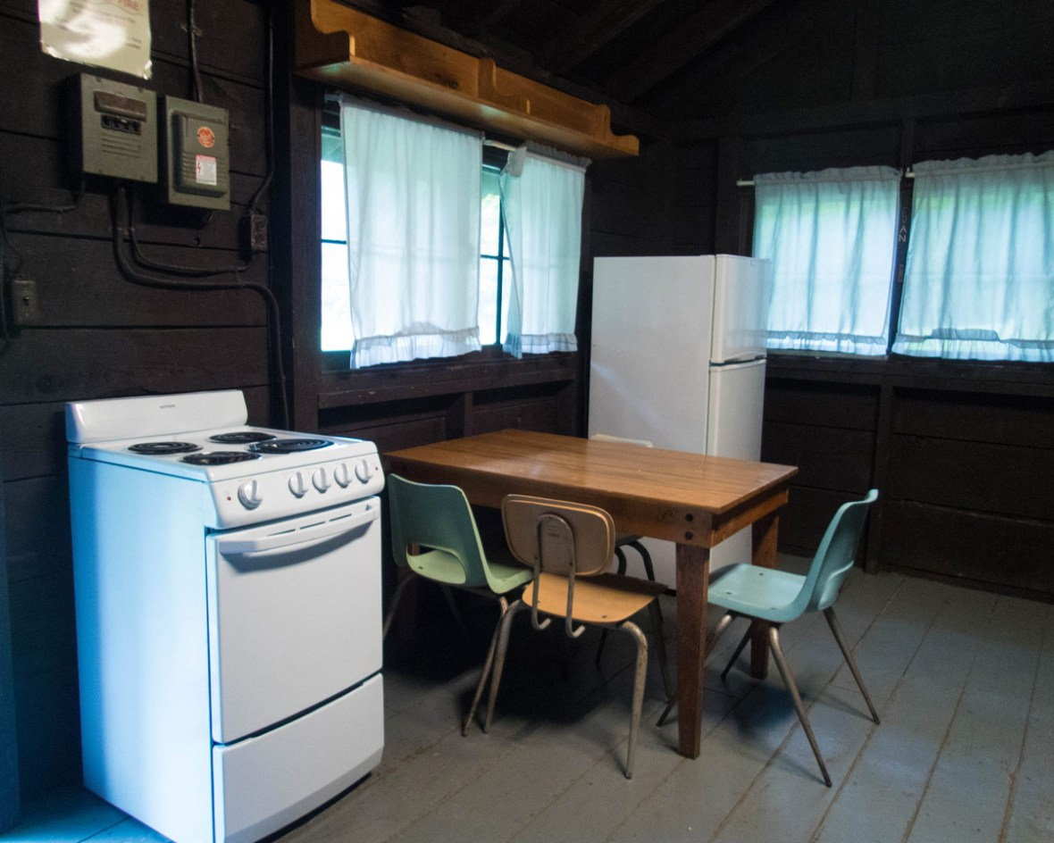 Kitchen area of Cabin E in Letchworth State Park in New York State