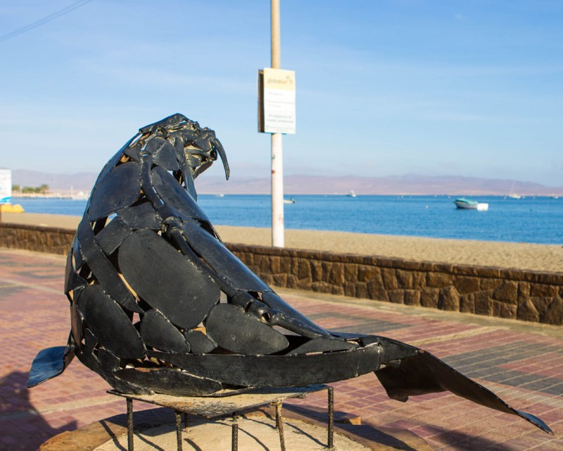 A walrus sculpture in Paracas Peru near the Paracas National Reserve