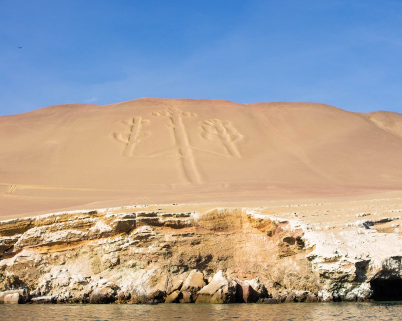 The prehistoric Paracas Candelabra on the Paracas Peninsula near Ballestas Islands in Paracas Peru