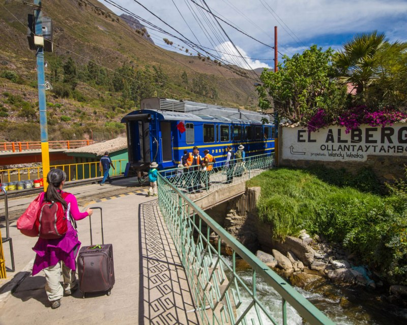 Boarding the Inca Rail train to Machu Picchu Pueblo in Peru with kids on a 14 day Peru itinerary