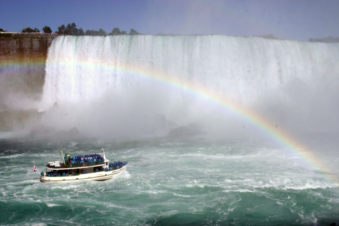 The Hornblower Cruise seen on the Journey Behind the Falls during winter in Niagara Falls
