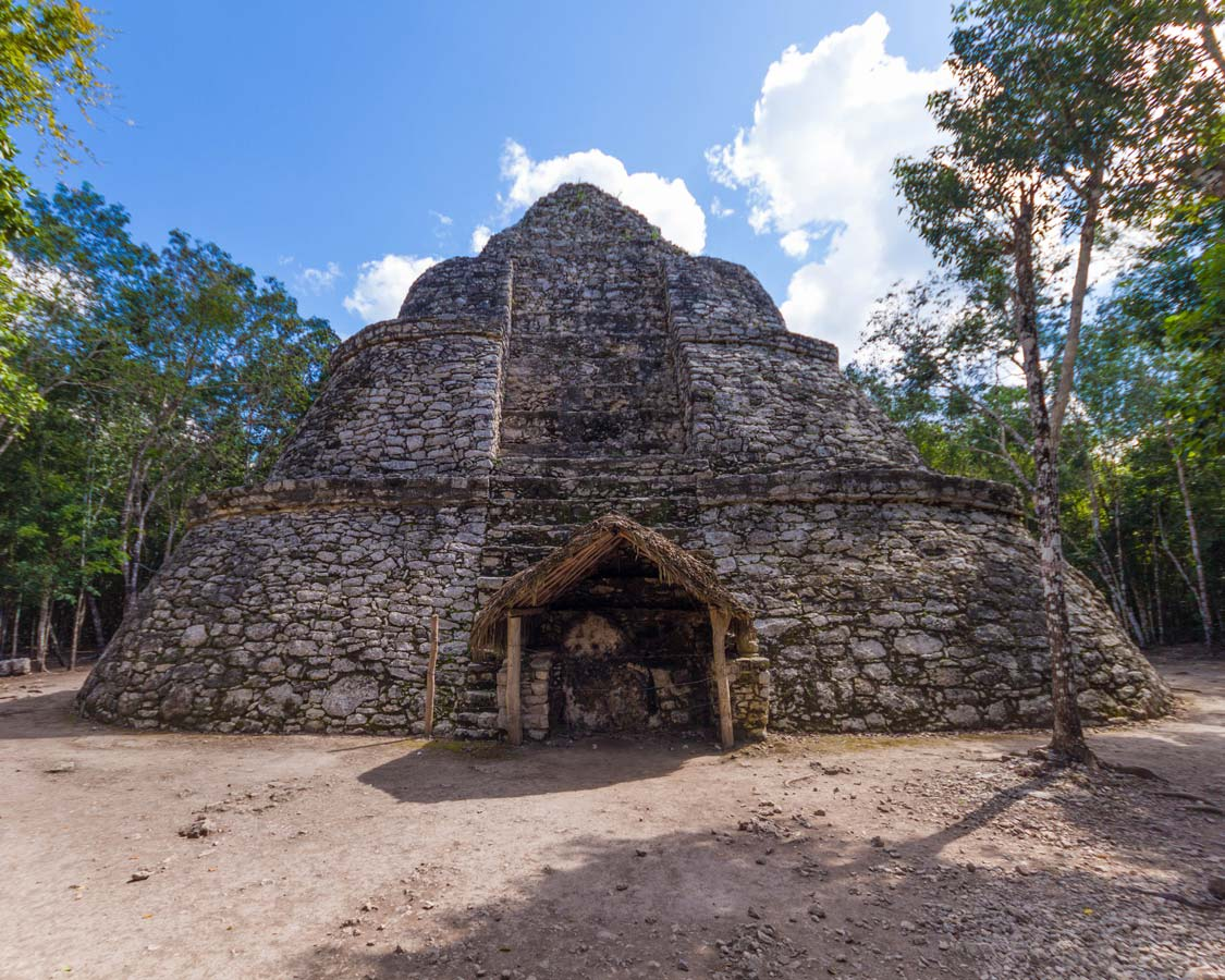Coba Ruins in Mexico near the city of Tulum with kids