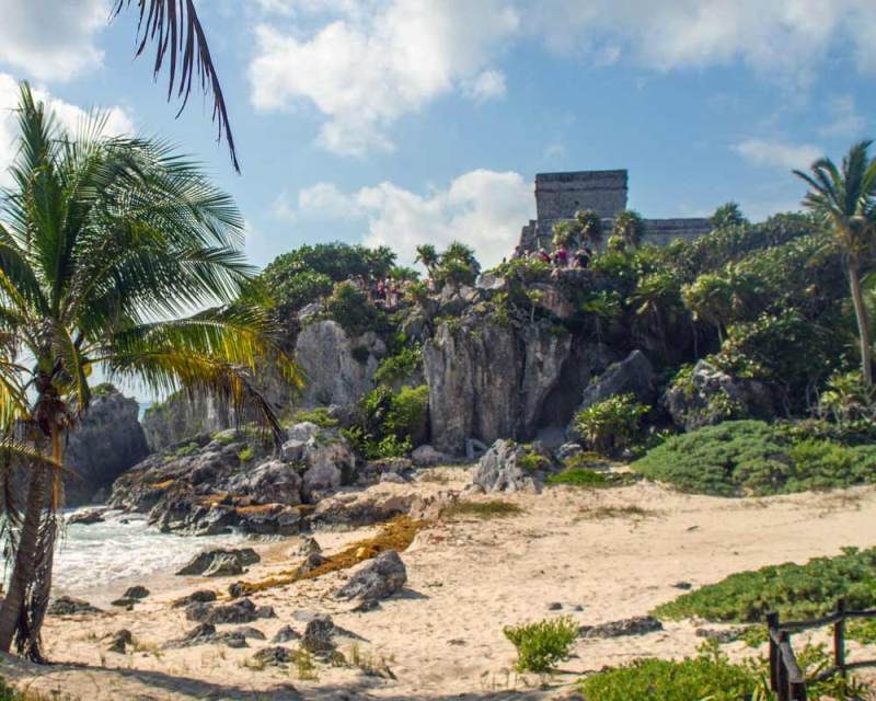 Tulum ruins viewed from the beach in Tulum Mexico with kids