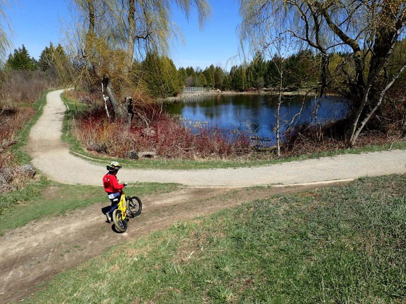 Biking at Island Lake Conservation Area in Orangeville Ontario