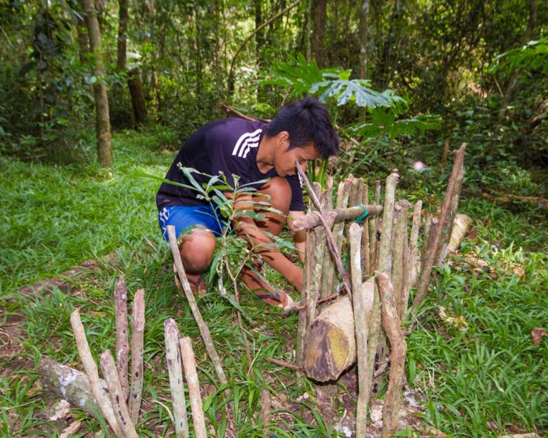 A Guarani tribesman rigs a wild boar trap near San Ignacio Argentina