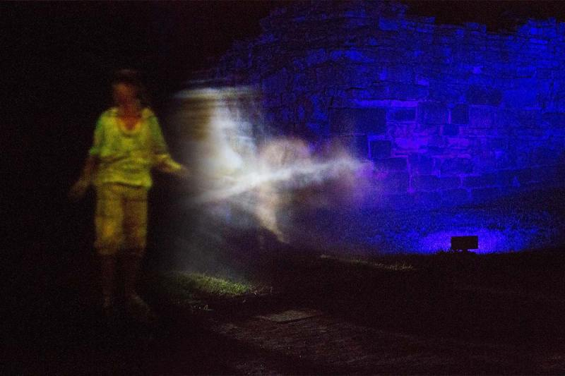 A ghostly projection at the San Ignacio Mini nighttime tour in San Ignacio Argentina