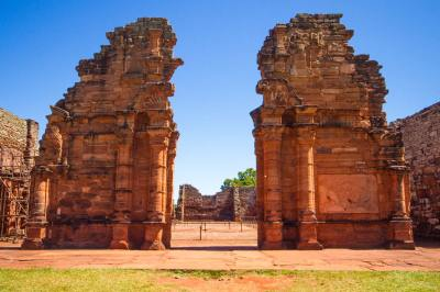 The towering walls of the church of the Jesuit Ruins of San Ignacio Miní in San Ignacio, Argentina