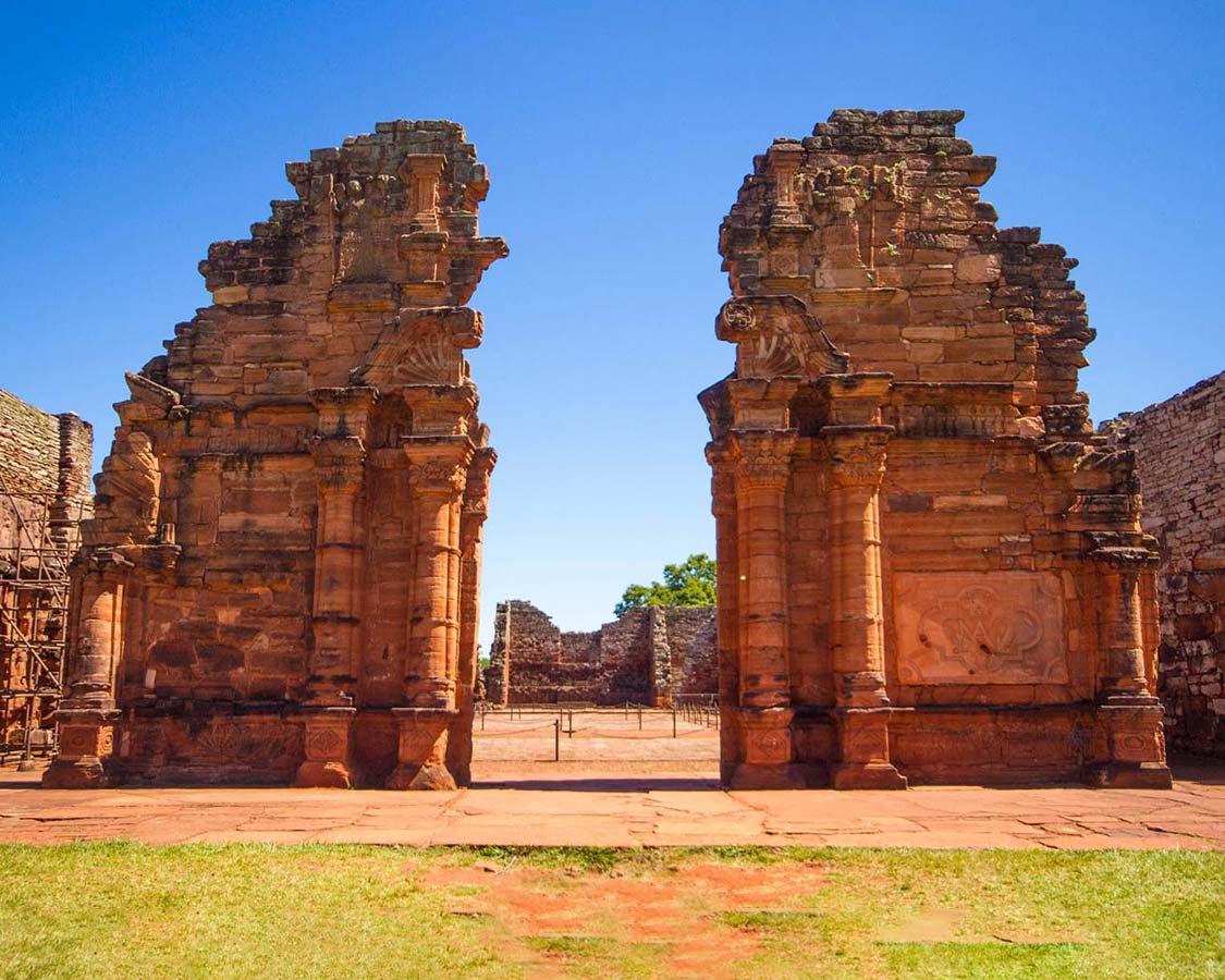 The towering walls of the church of the Jesuit Ruins of San Ignacio Miní in San Ignacio, Argentina