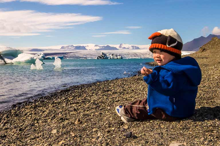 Jokusarland Glacier lagoon Iceland with kids
