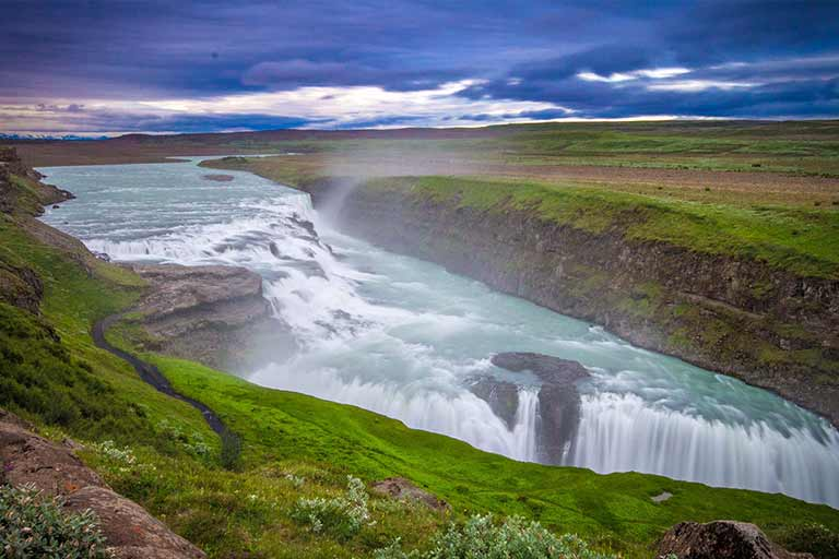 Gulfoss in Iceland with kids