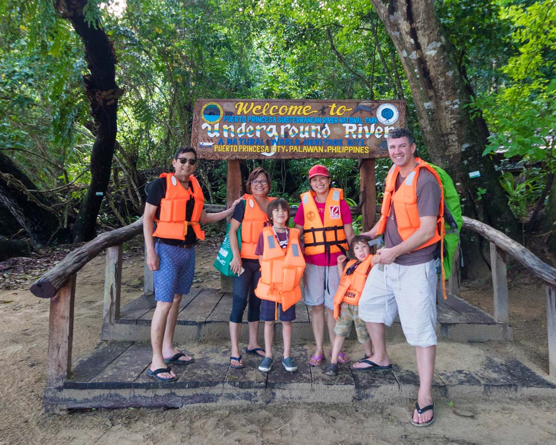 Family shot at the Puerto Princesa Underground River in the Philippines