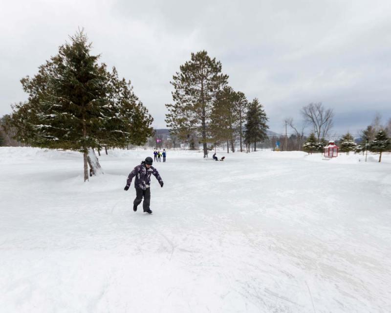 Skating on Lac Miroir Mont Tremblant Quebec