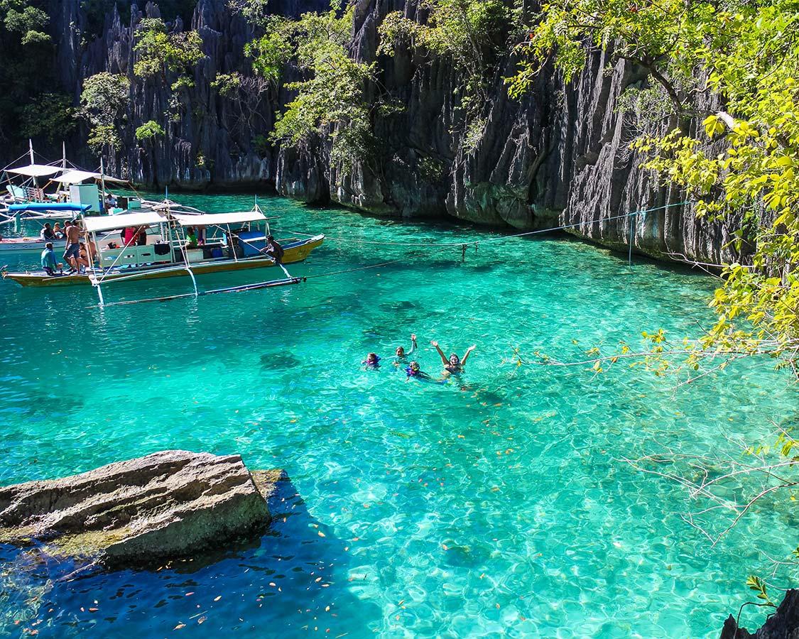 Swimming at twin lagoons Coron Philippines