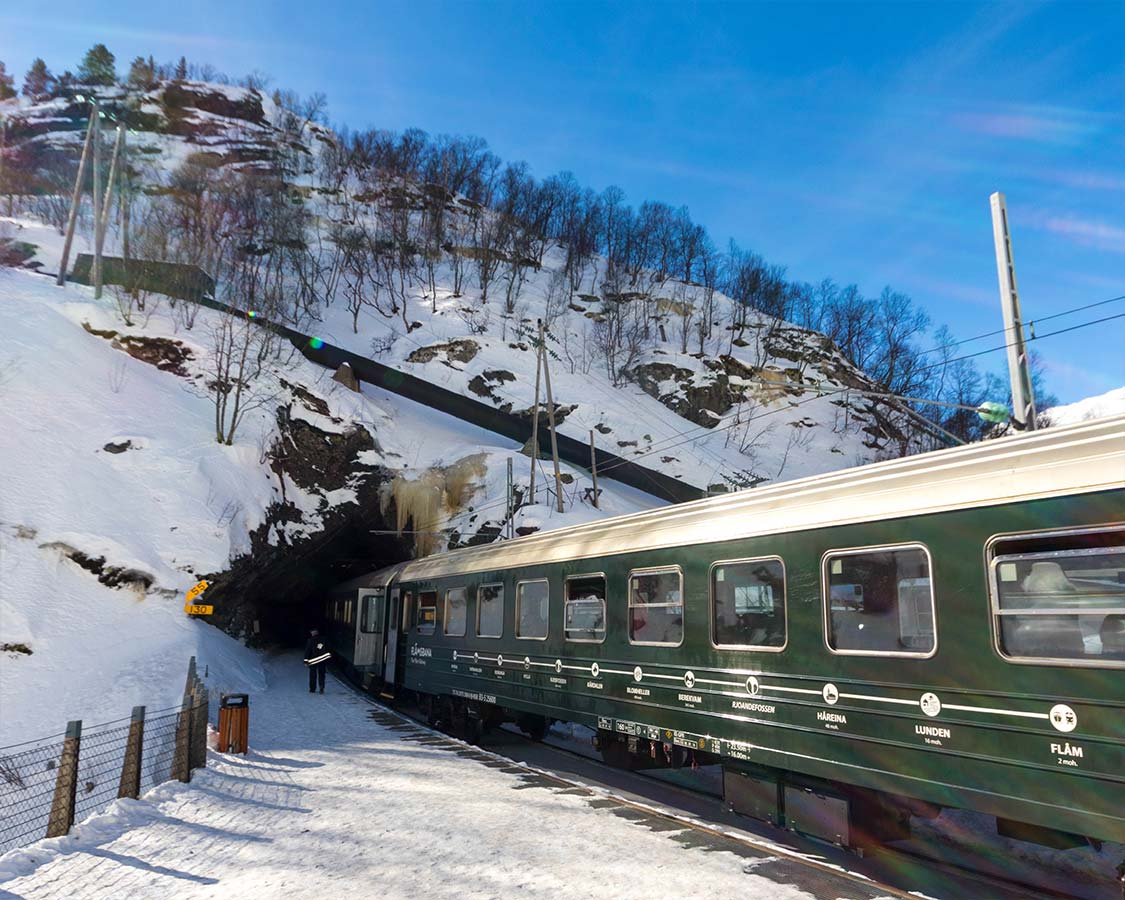 Norway In a Nutshell Flamsbana Train In Tunnel