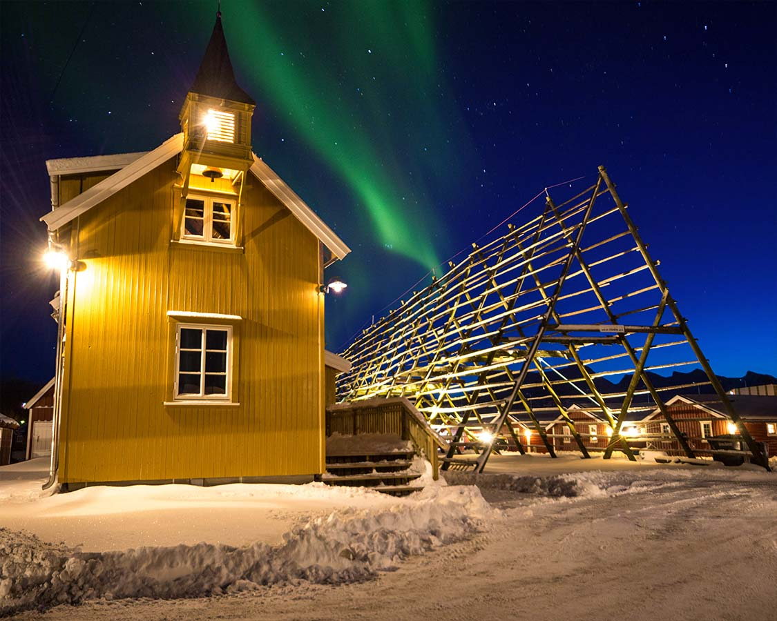 Norway in Winter Svolvaer fishing huts under the Northern Lights