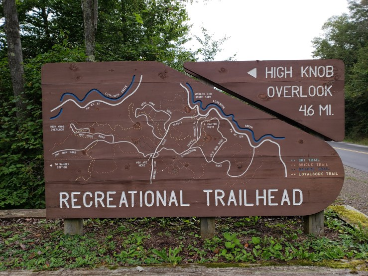 Loyalsock recreational trail map sign