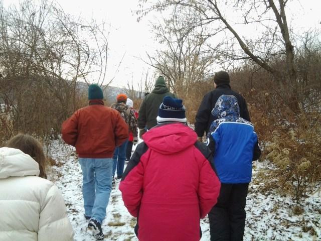 Hikers in winter coats