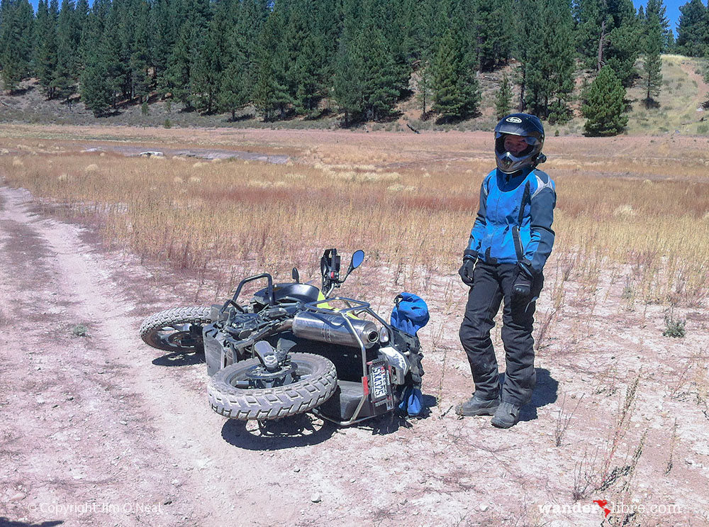 Sheri Takes a Break After Falling Off Her Motorcycle While Practicing New Trail Riding Skills