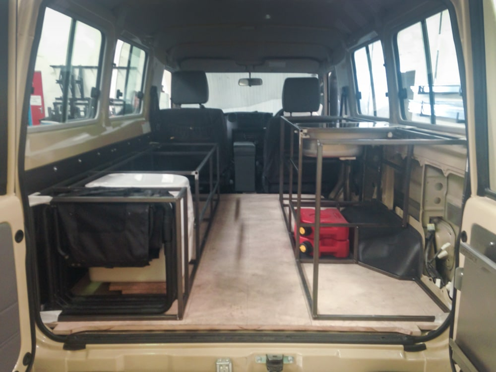 Installing a draw system mockup in a Land Cruiser 78 Troopy to check sizing and placement