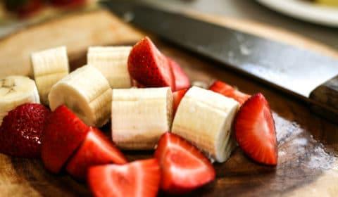 fresh strawberries and bananas