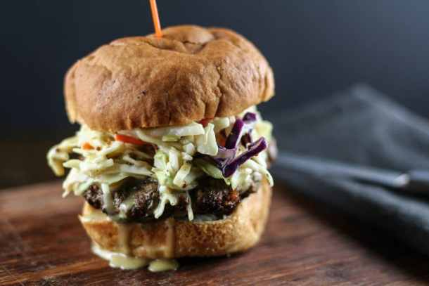 sweet and spicy burger with honey mustard slaw