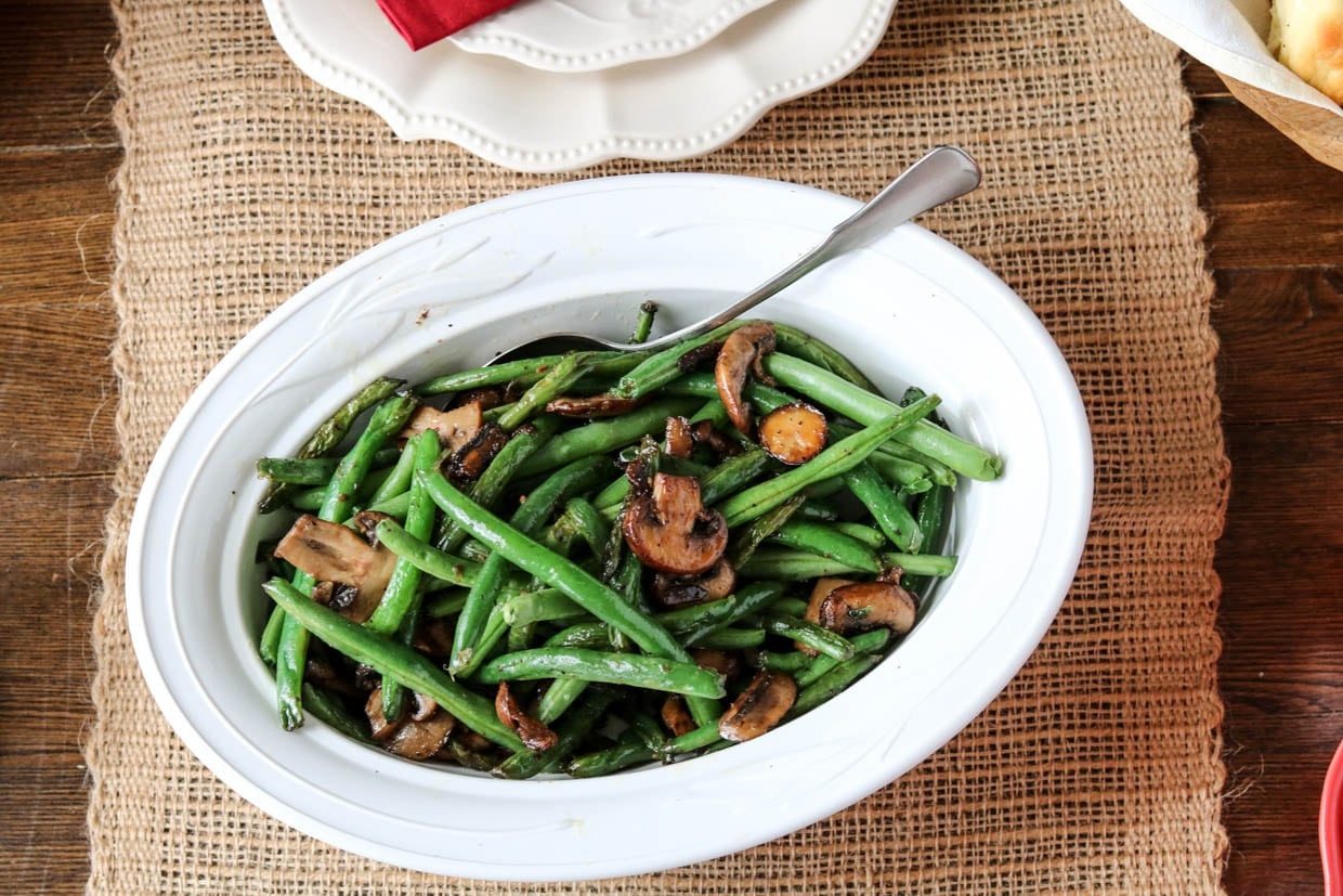 how to make sauteed mushrooms and green beans