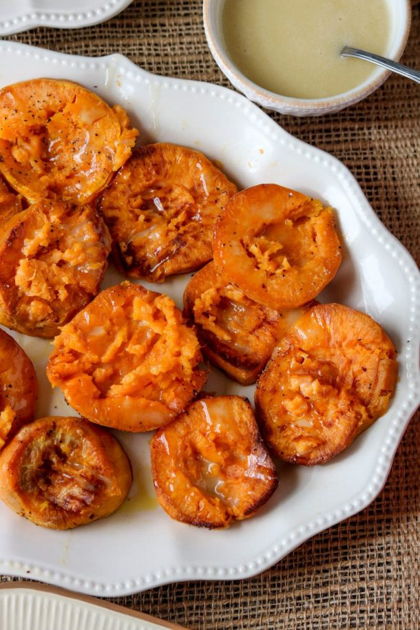 Smashed Sweet Potatoes with Maple Ailoi