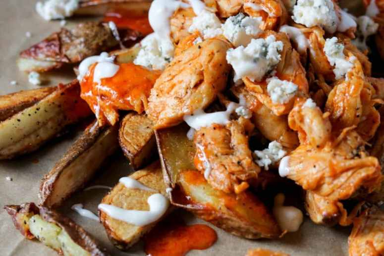 homemade buffalo chicken fries