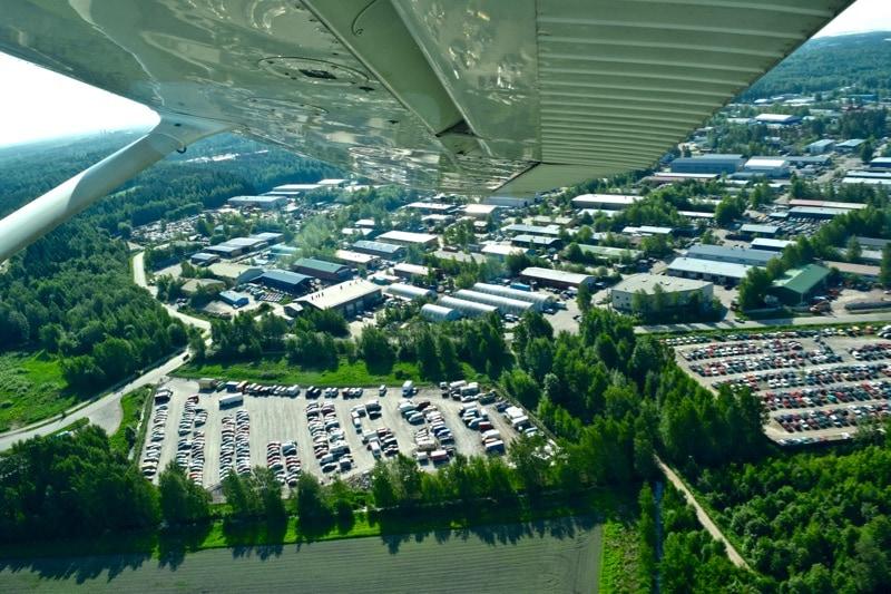 View from a cessna flight over Helsinki