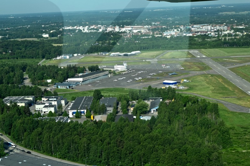View of Malmi Airport from our Cessna flight over Helsinki