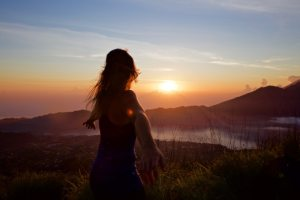 Taking in the incredible view of sunrise from Mount Batur, Bali